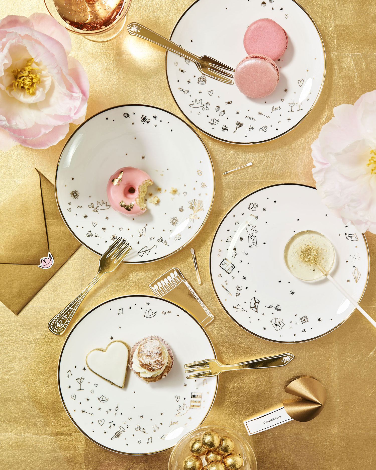 darcy miller lenox celebrate everything tidbit plates gold white china valentine's day gift ideas
