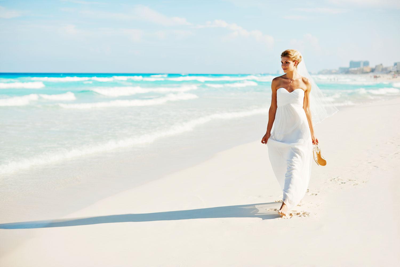 Hyatt Zilara Cancun Playa Resorts bride walking along white sand beach destination wedding