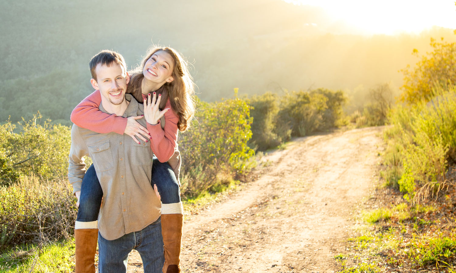 proposal captured on camera, proposal on hike, engagement shoot in carpinteria