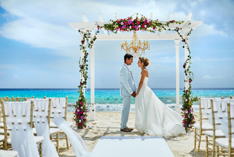 Hyatt Zilara Cancun Playa Resorts bride and groom destination wedding ceremony on beach
