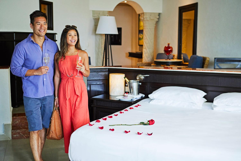 Hyatt Zilara Cancun Playa Resorts destination wedding honeymoon suite arrival rose petals on bed