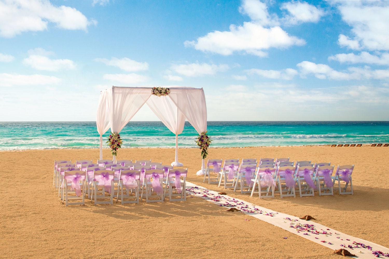 Hyatt Zilara Cancun Playa Resorts destination wedding ceremony on white sand beach