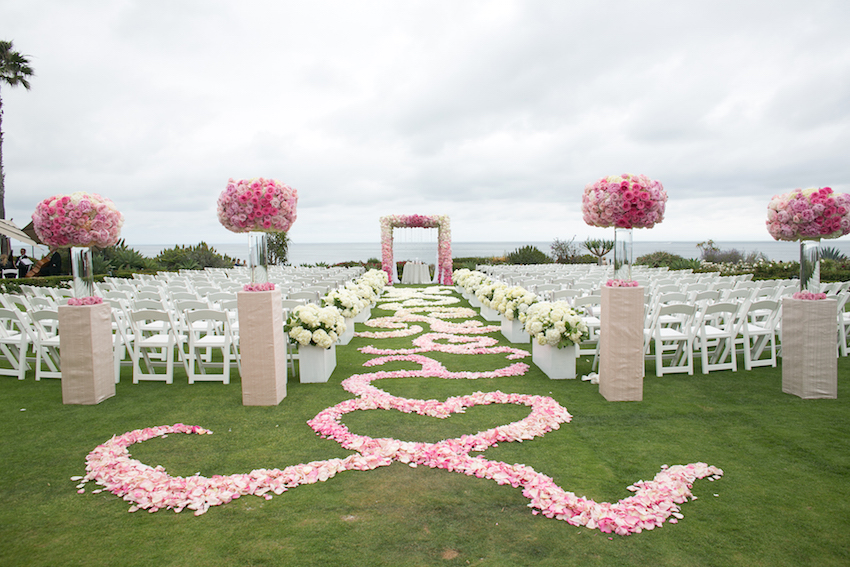 popular real wedding inside weddings outdoor ocean view wedding ceremony white and pink decor