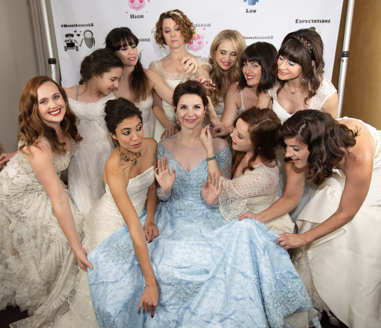 audrey moore and jeese lumen bride has guests wear wedding dresses to her wedding