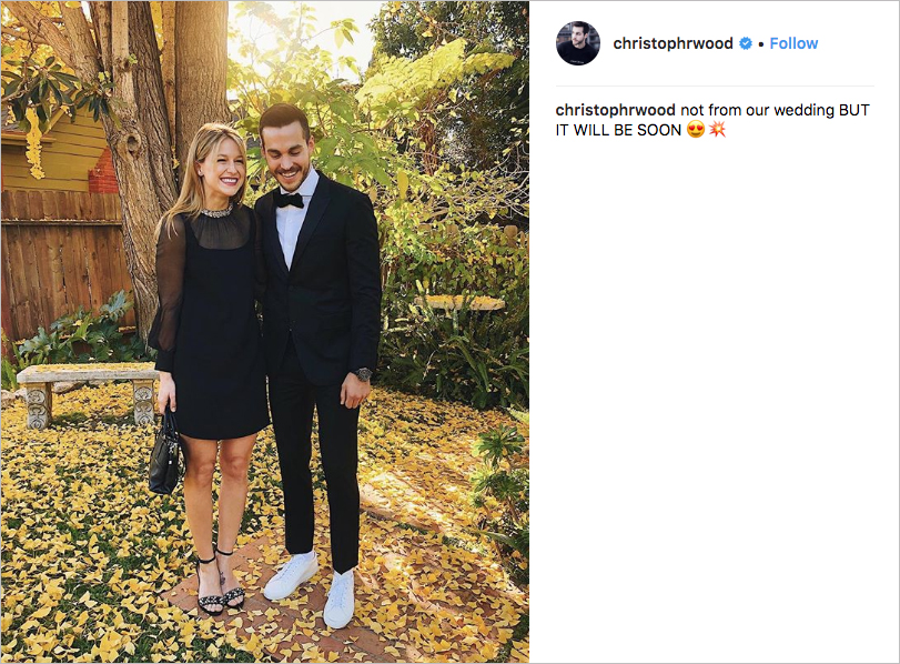 melissa benoist and chris wood engagement, melissa benoist and chris wood wedding, kara and mon-el