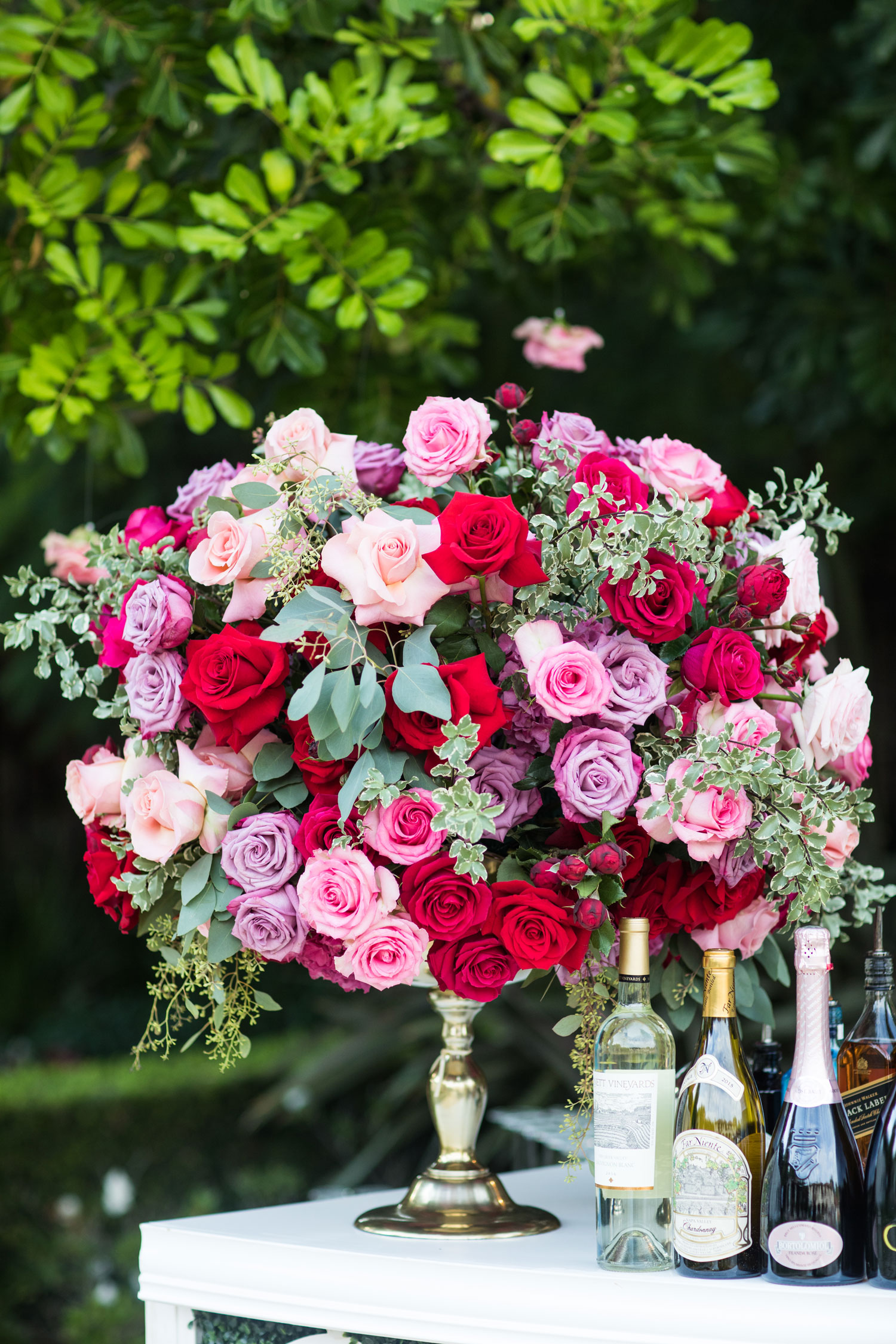 pink and red flower rose arrangement valentine's day bouquet inspiration