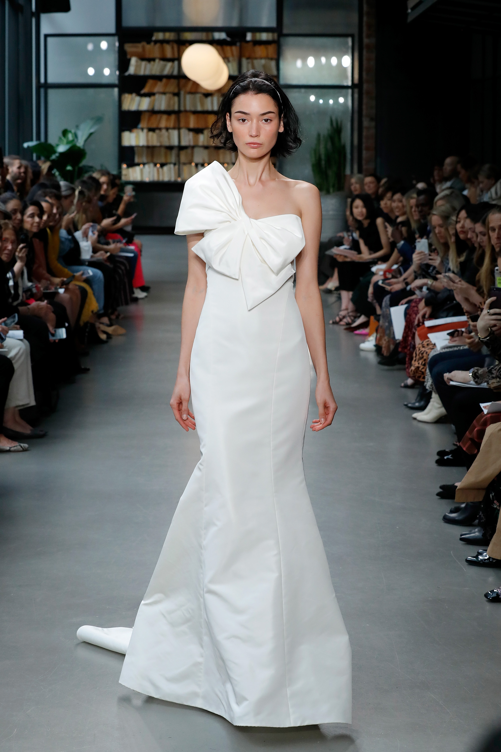 Amsale wedding dress with large bow at neckline