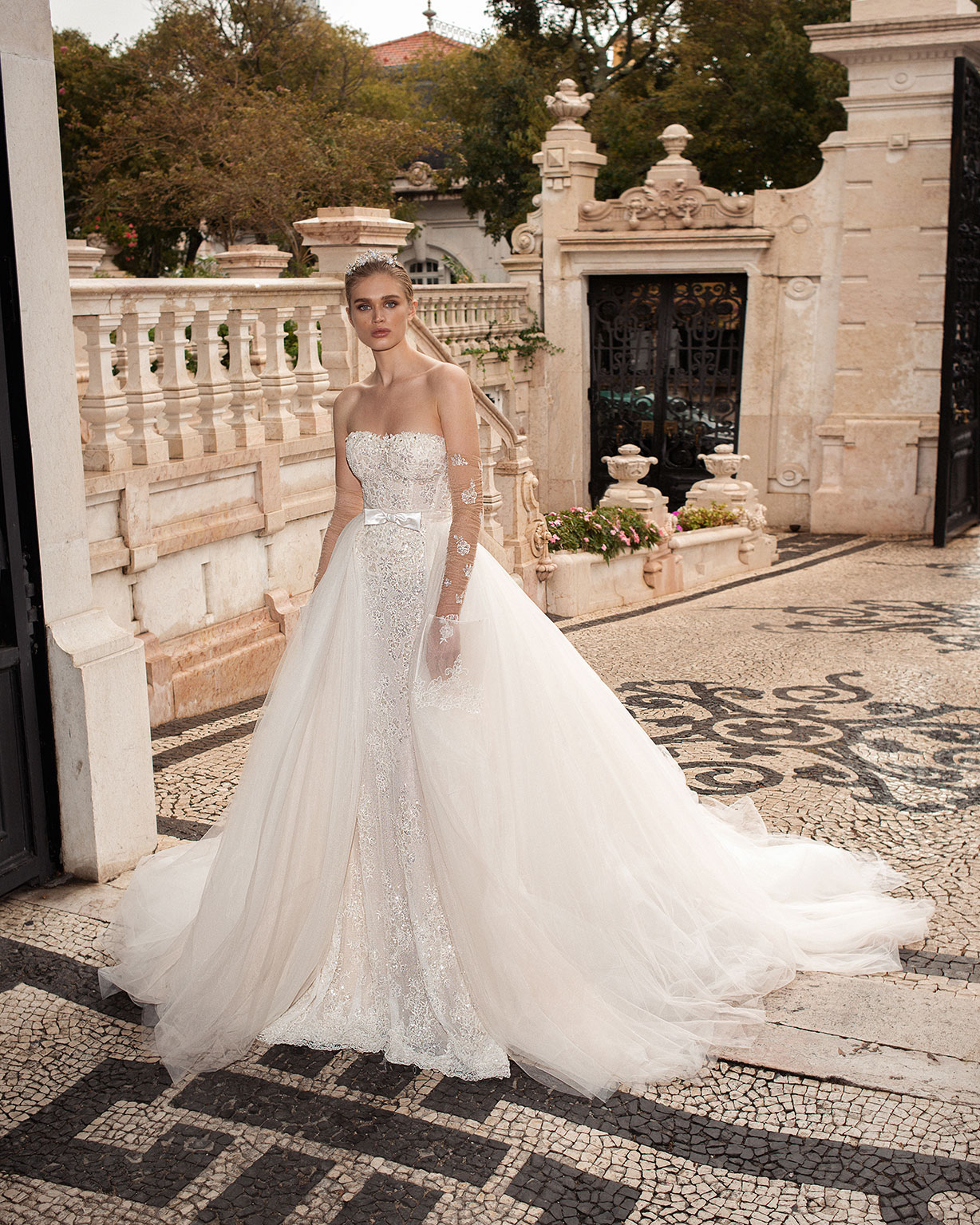 Galia Lahav strapless wedding dress with overskirt and bow detail in front