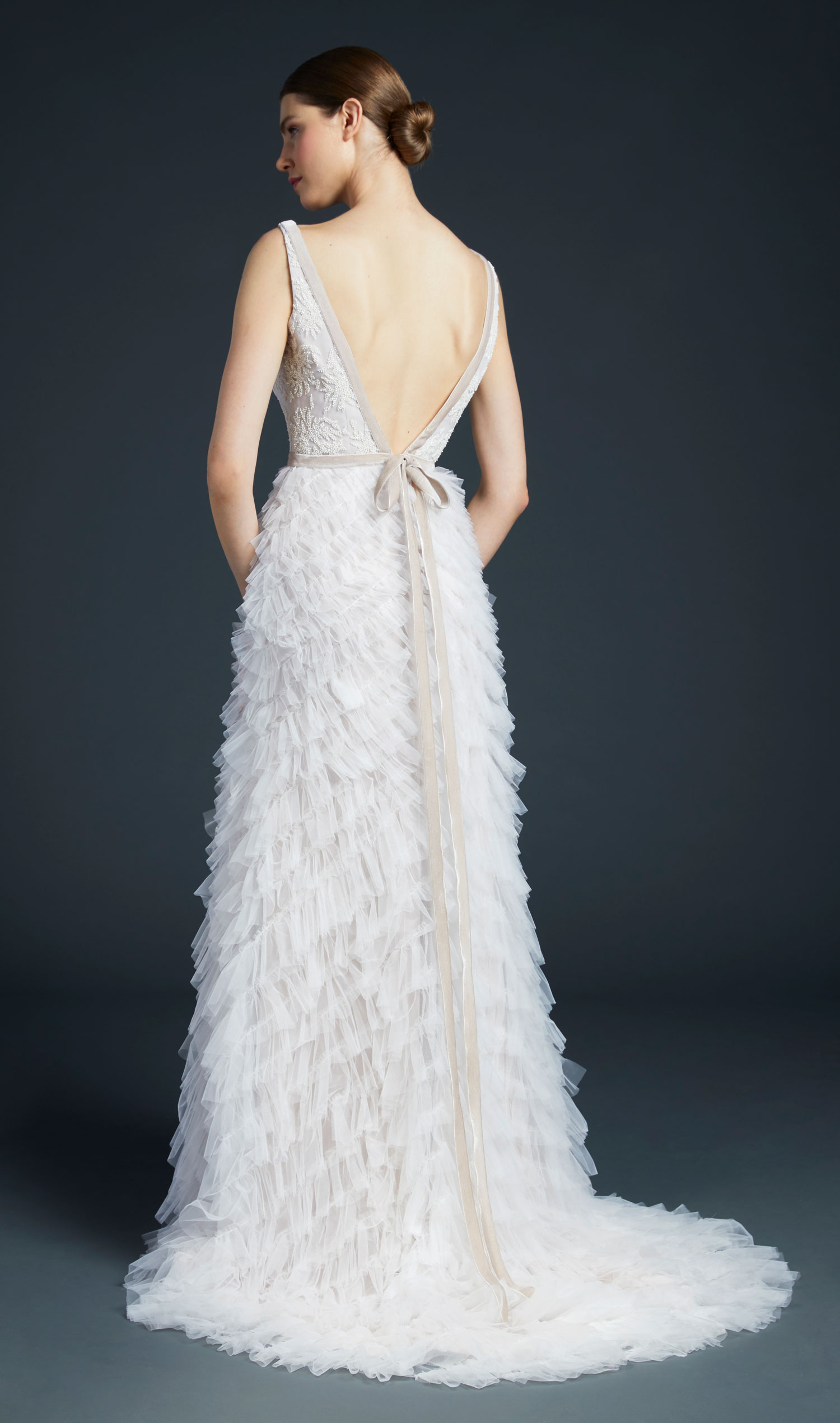 Anne Barge Bolta wedding dress with ruffle skirt v back and bow in back