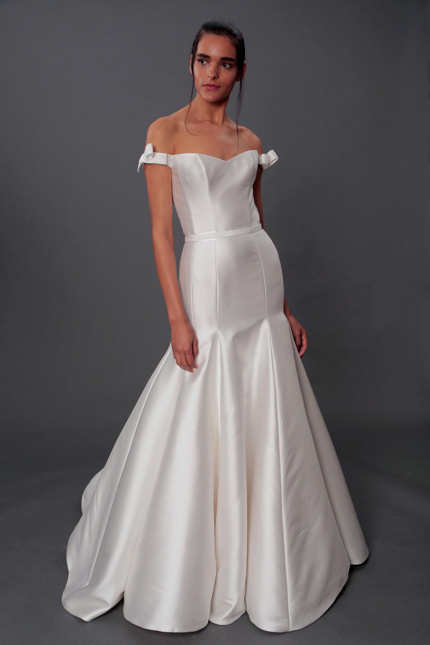 Isabelle Armstrong off the shoulder Evelyn bridal gown with bows at shoulder off shoulder straps