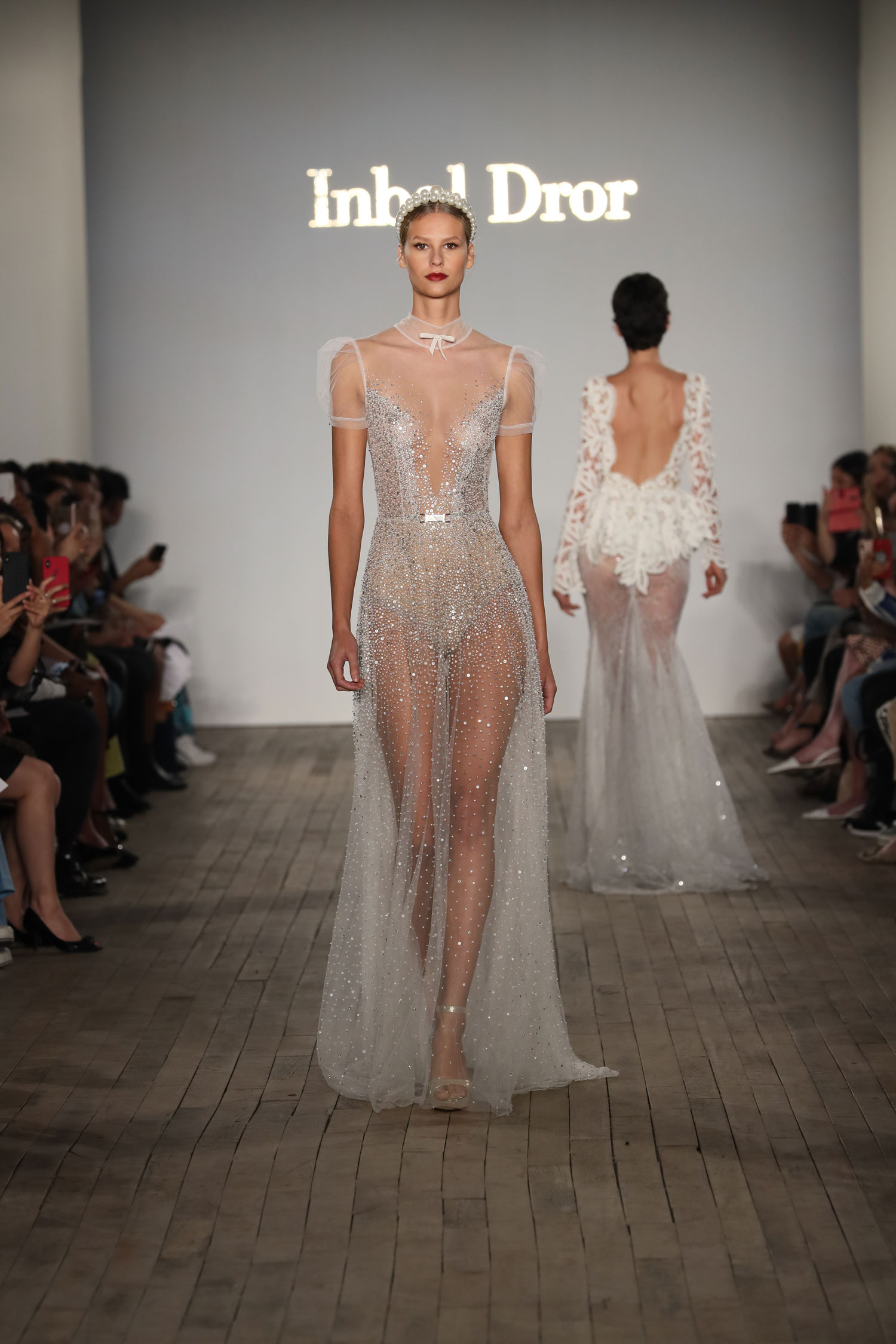 Sheer Inbal Dror wedding dress with little bow detail in front