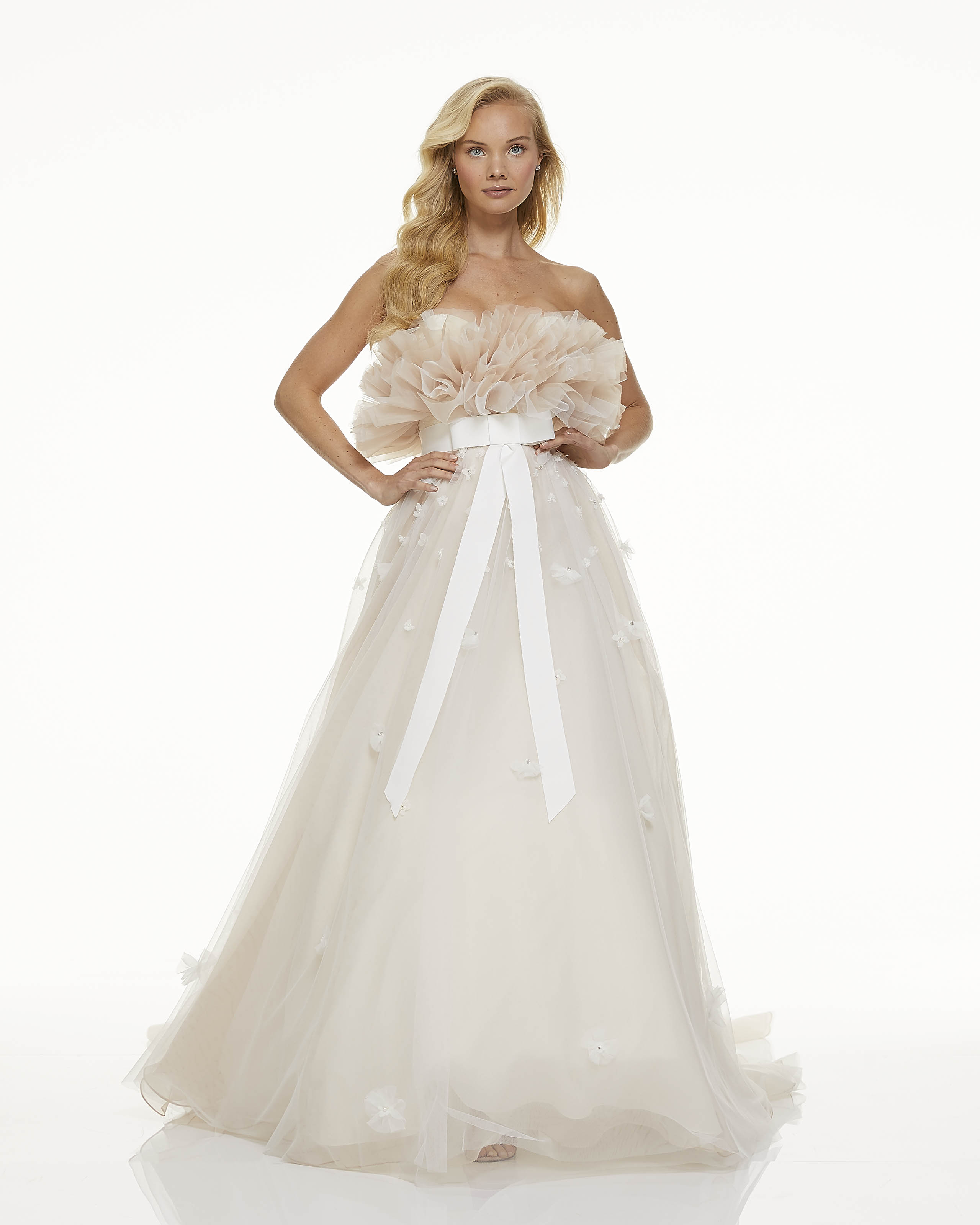 Mark Zunino wedding dress ruffle bodice empire waist bow details