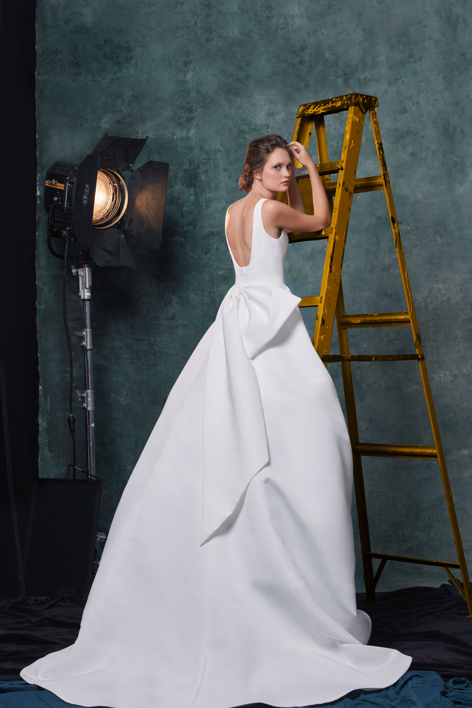 Sareh Nouri wedding dress with large oversized bow in back Meryl gown