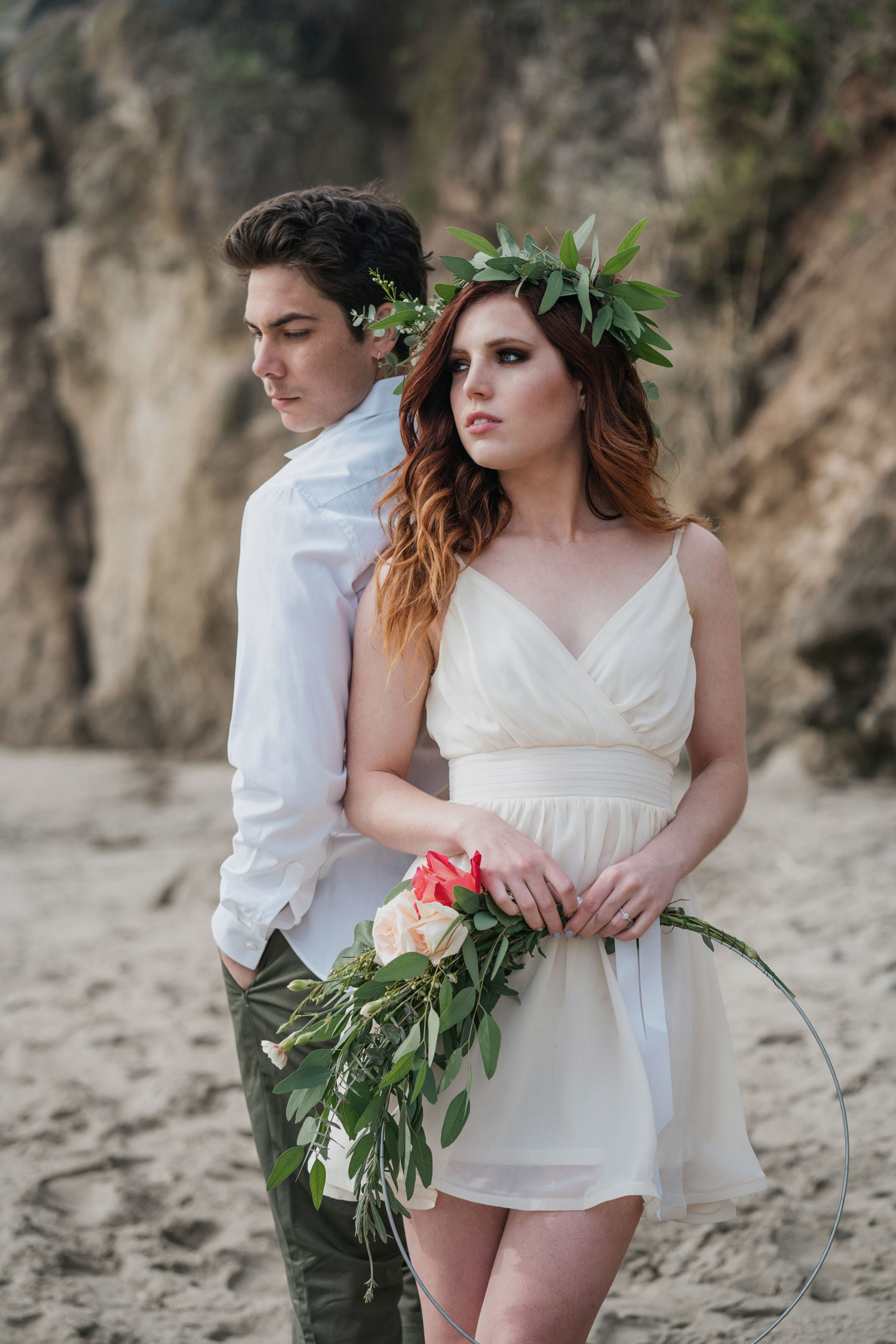Echosmith Sydney Sierota flower crown white dress and Allstar Weekend Cameron Quiseng engagement shoot