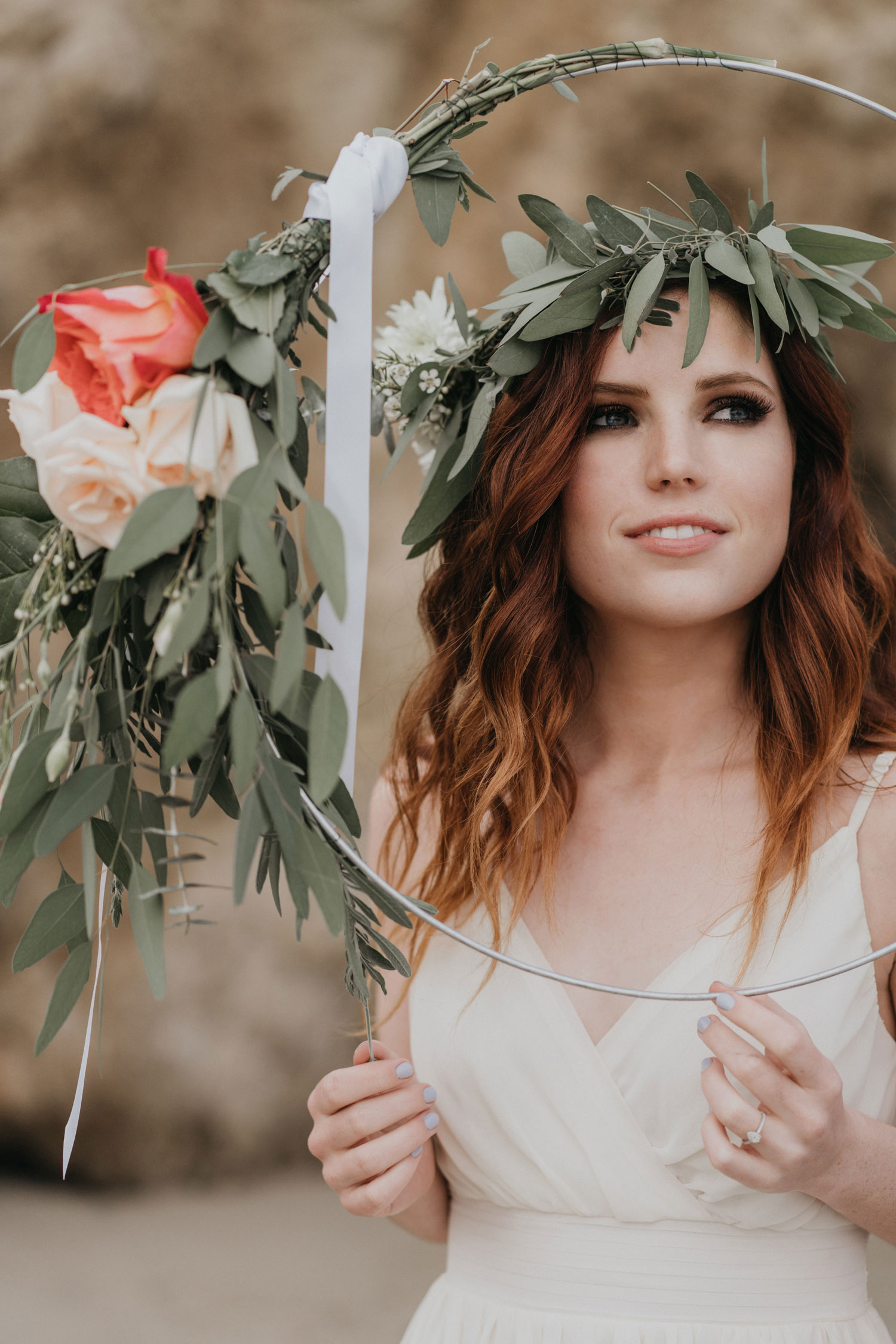 Echosmith Sydney Sierota engagement shoot flower crown with circle of flowers