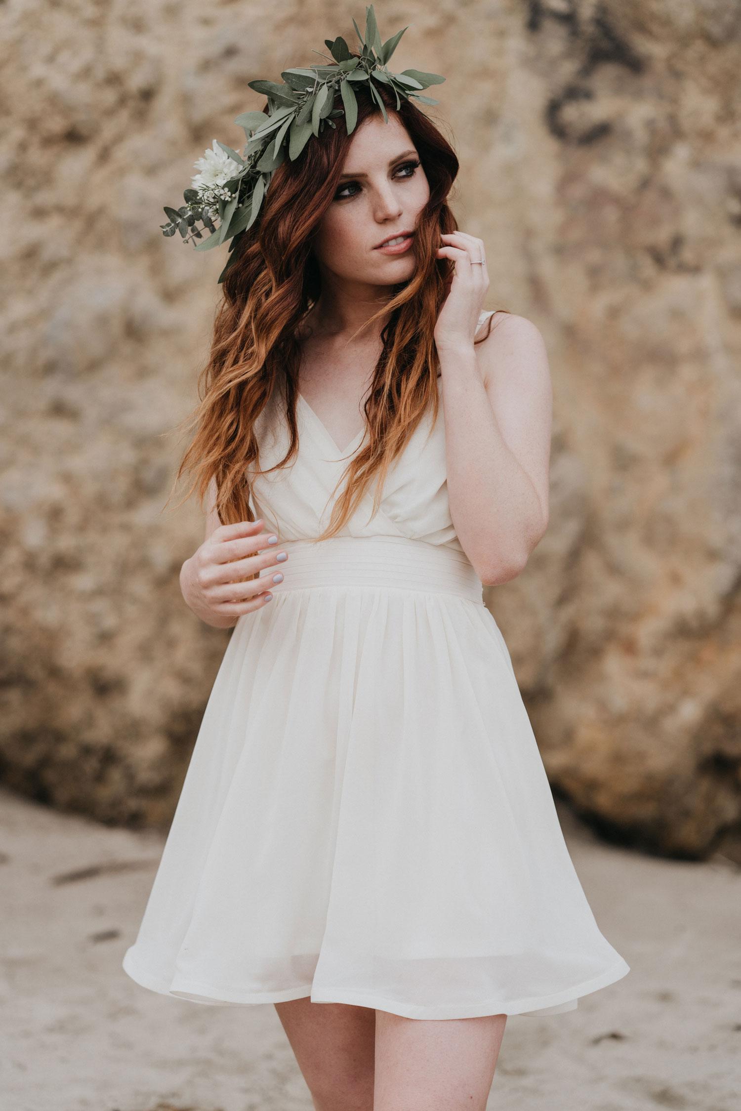 Echosmith Sydney Sierota white dress flower crown for engagement shoot on beach