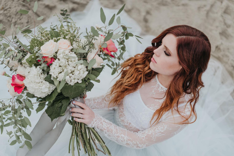 Echosmith Sydney Sierota engagement shoot light something blue skirt lace top flowers