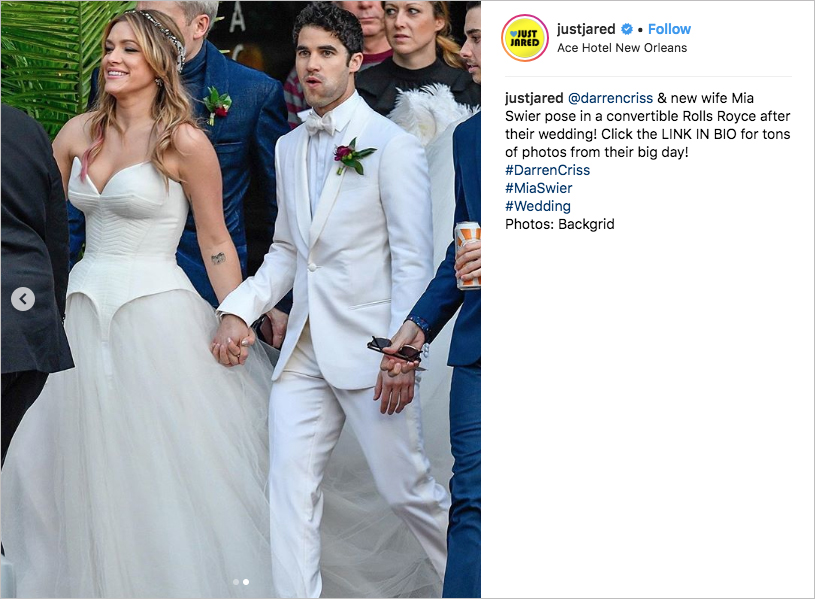 darren criss and mia swier wedding photos, joey richter a very potter musical, mia swier wedding dress