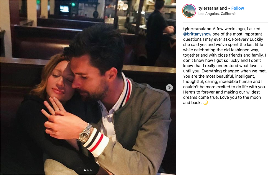 brittany snow and tyler standaland engaged