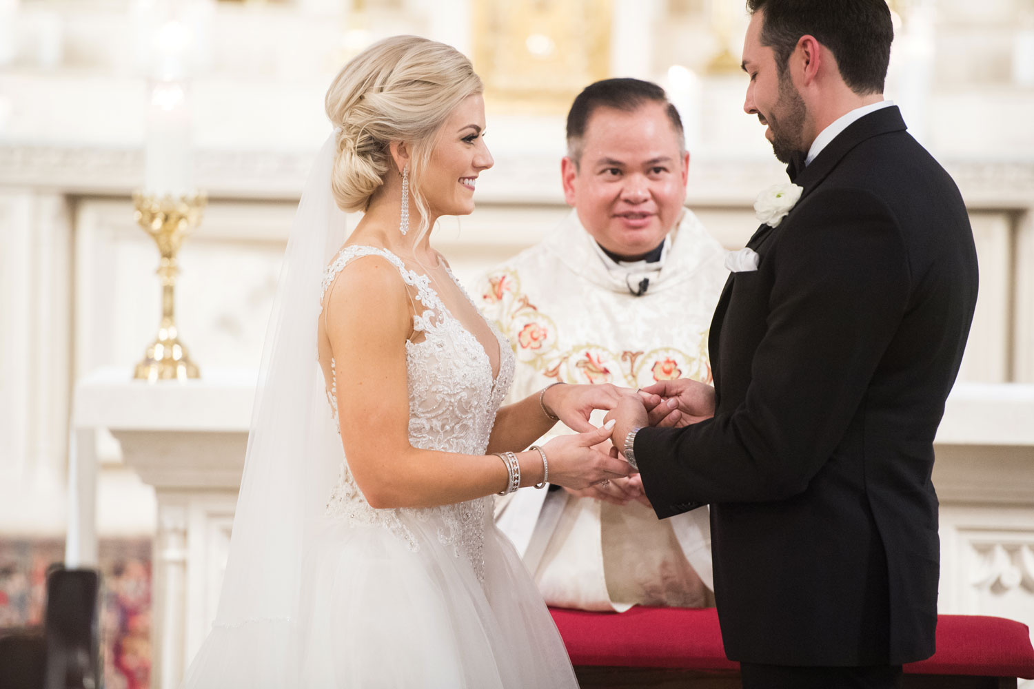 Inside Weddings magazine Spring 2019 issue church ceremony ring exchange vows