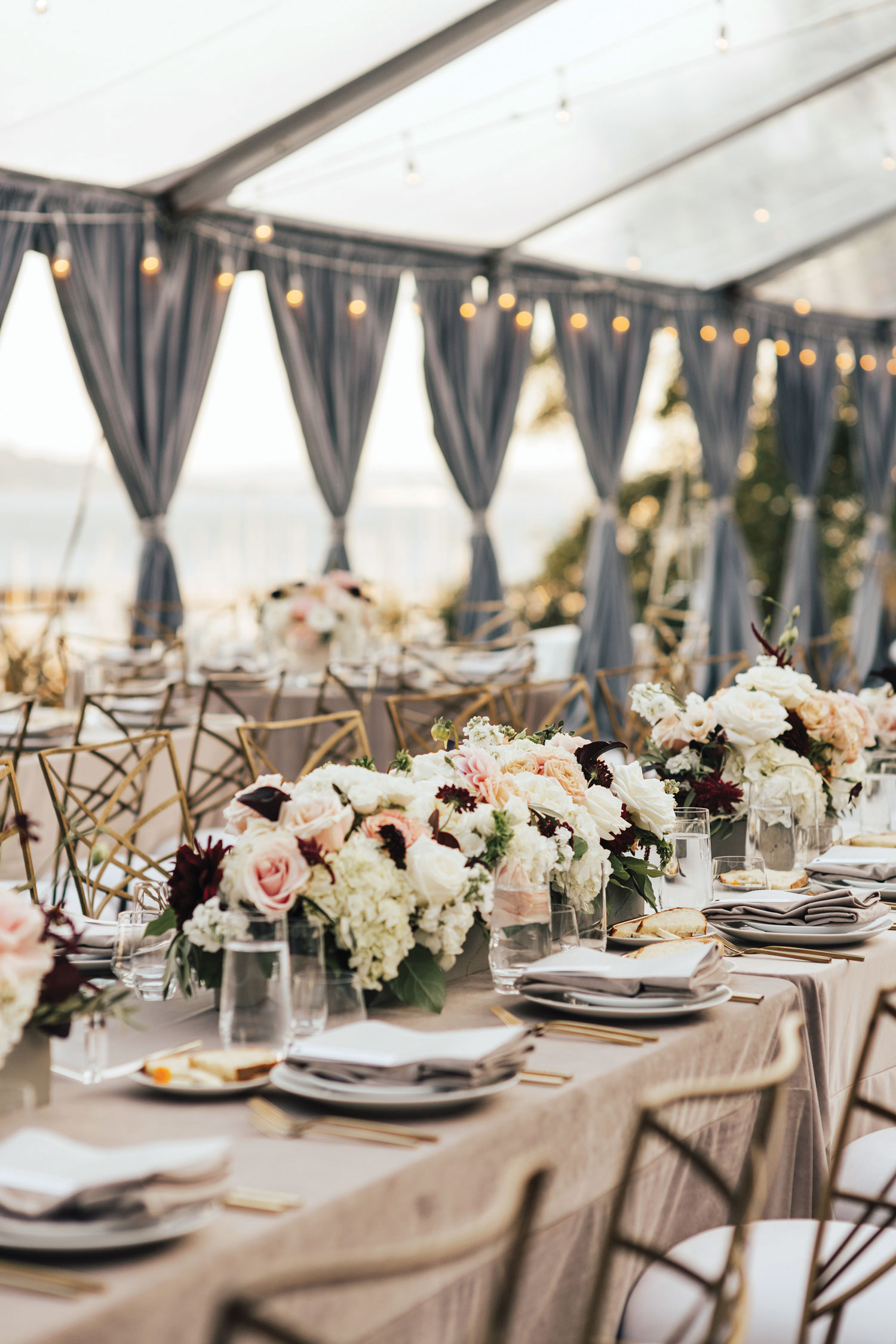 Inside Weddings magazine Spring 2019 issue pretty tented wedding reception fall color palette