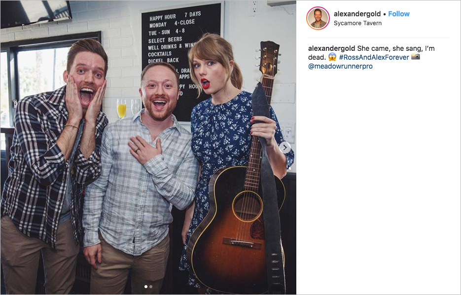 taylor swift performs at engagement party, alex goldschmidt and ross girard
