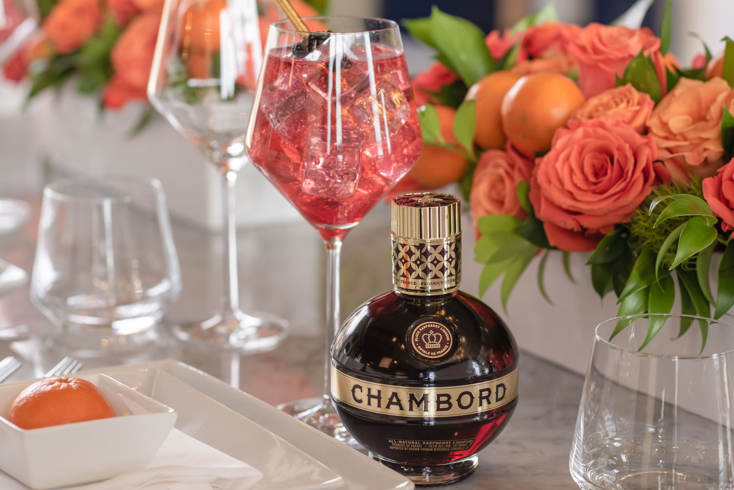 Chambord Spritz cocktail recipe with Chambord raspberry liqueur and white wine soda water