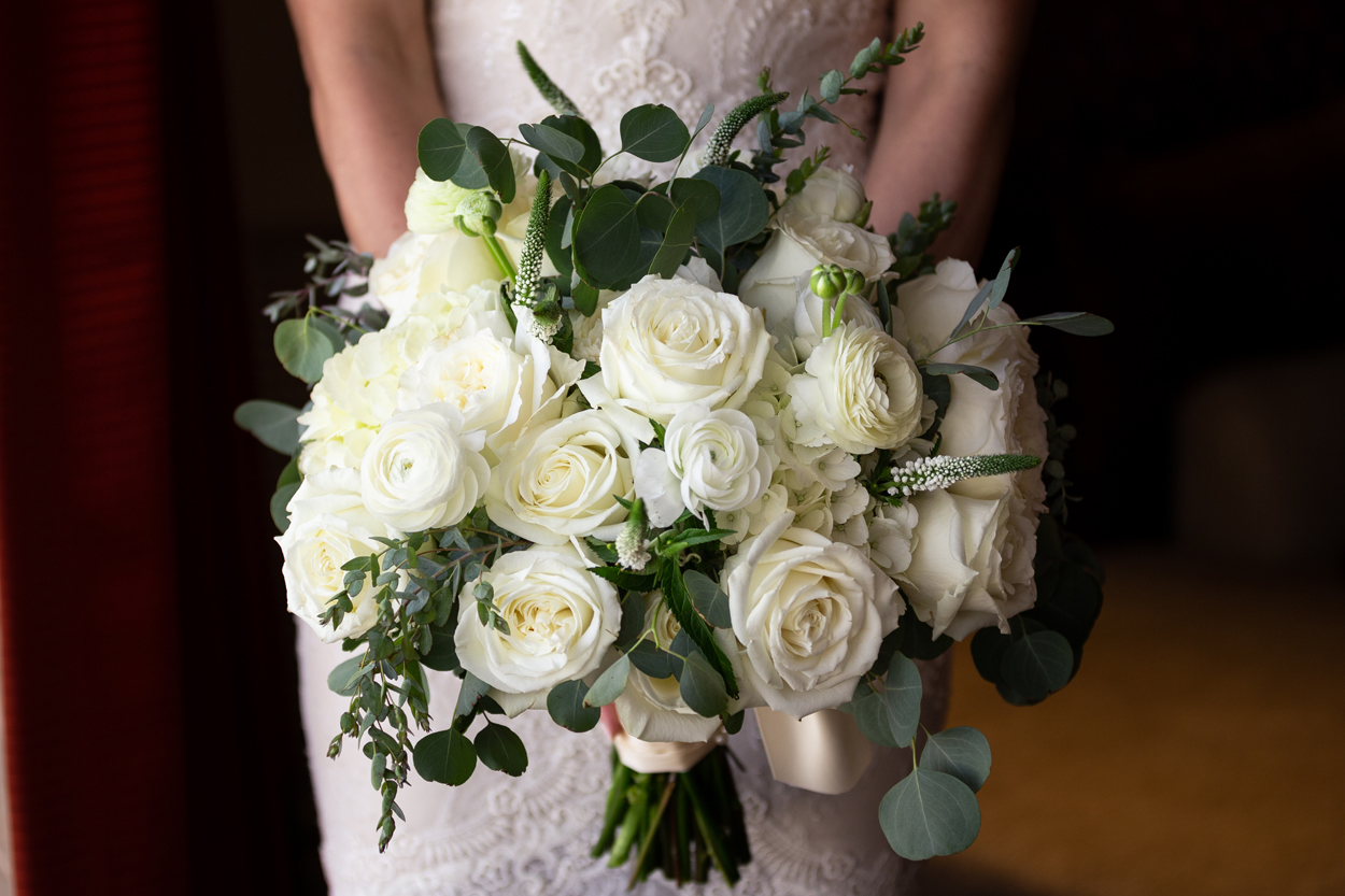 wedding bridal bouquet white flowers with greenery accents