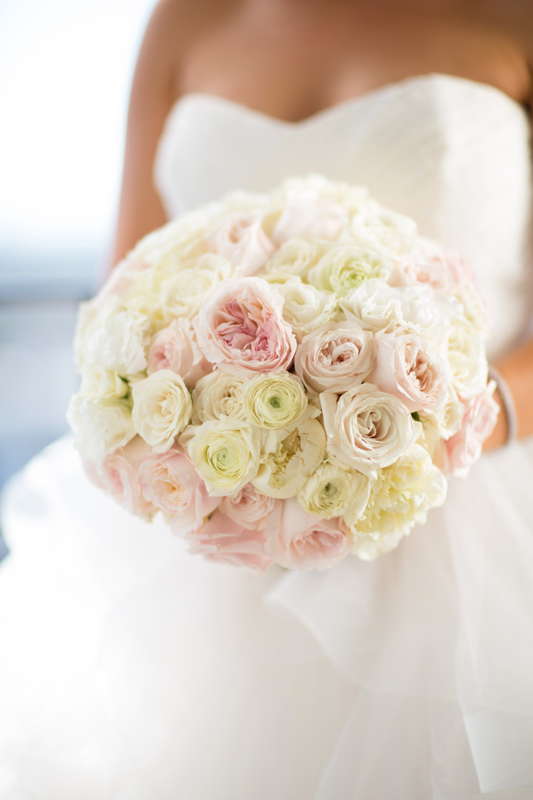white ivory and pink wedding bridal bouquet flower arrangement