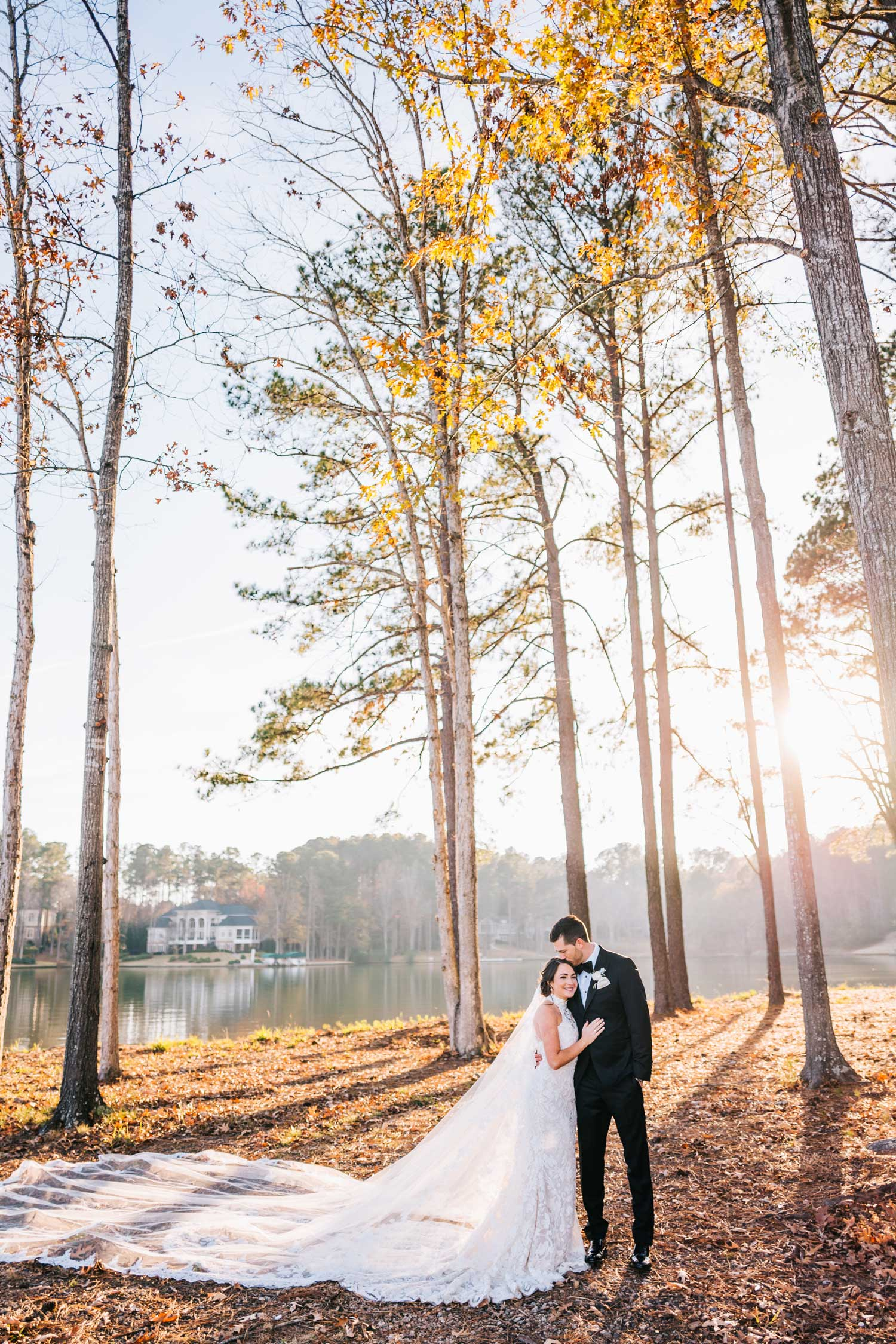 bride and groom portrait in woods of small town venue location