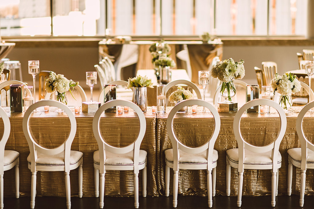 wedding reception ideas gold and white color palette mirror vases riser and table details