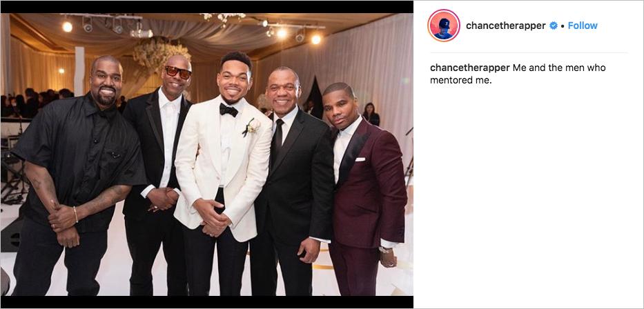 chance the rapper wedding, chance the rapper's father ken bennet, kanye west, dave chappelle, kirk franklin