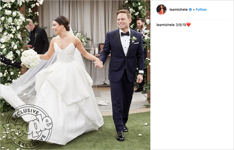 lea michele and zandy reich wedding photo, lea michele wedding dress
