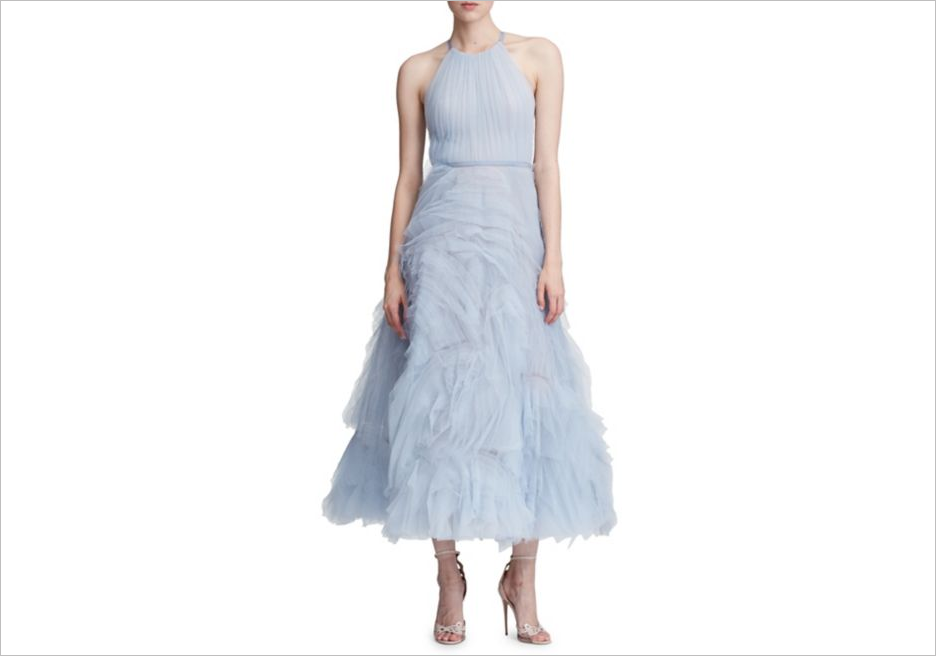 Marchesa Notte cutout tulle fit and flare light blue dress wedding guest dress ideas