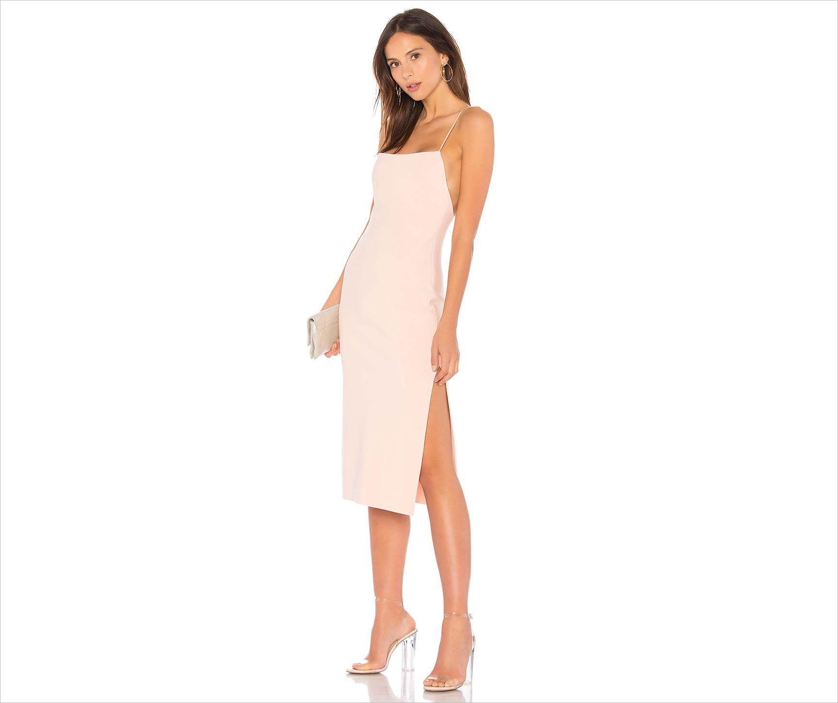 marvellous midi dress in light pink bec and bridge revolve wedding guest dress ideas