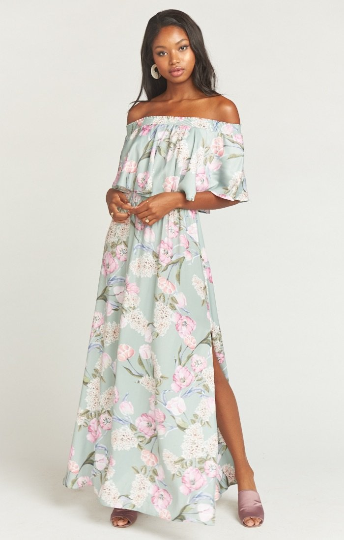 Hacienda maxi dress in primavera floral print show me your mumu wedding guest dress ideas