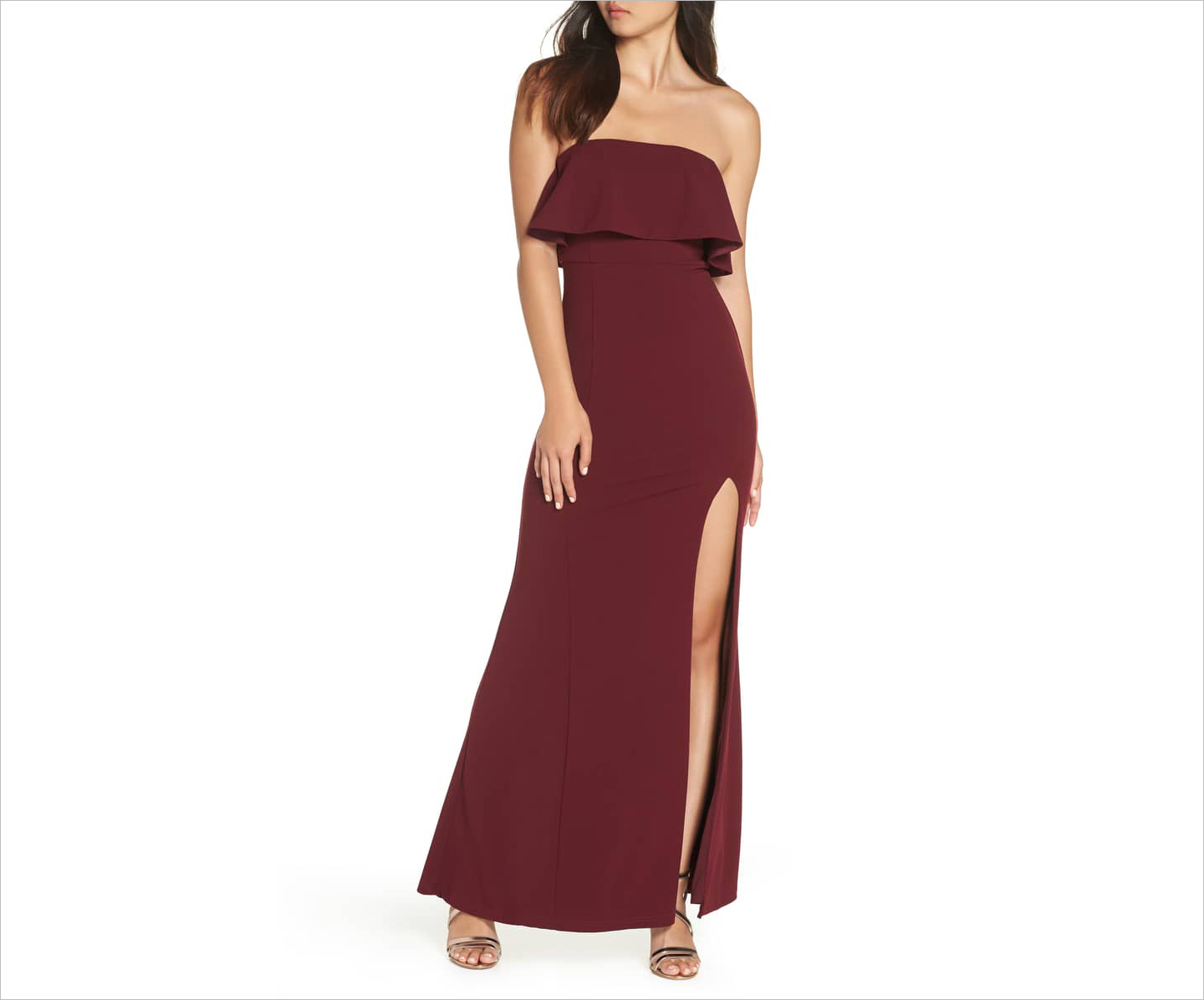 off the shoulder maxi gown burgundy wedding guest dress ideas lulus