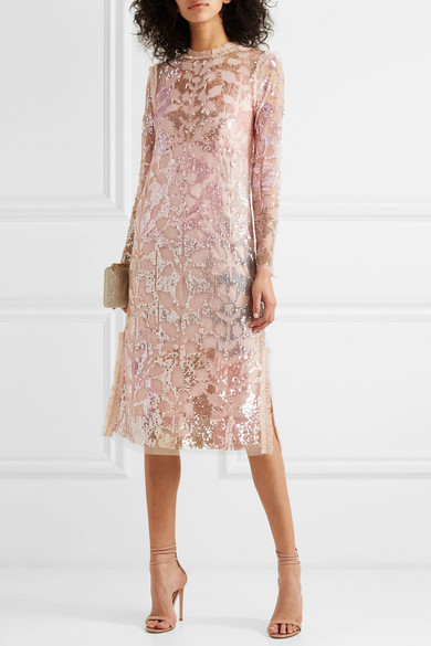 Sequin embellished tulle dress needle & thread net a porter wedding guest dress ideas