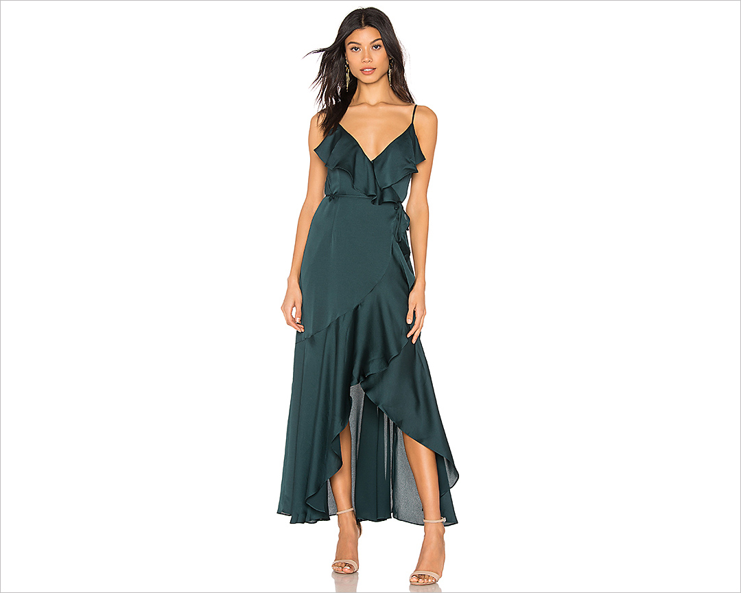 Luxe bias frill wrap dress shona joy emerald green revolve wedding guest dress ideas