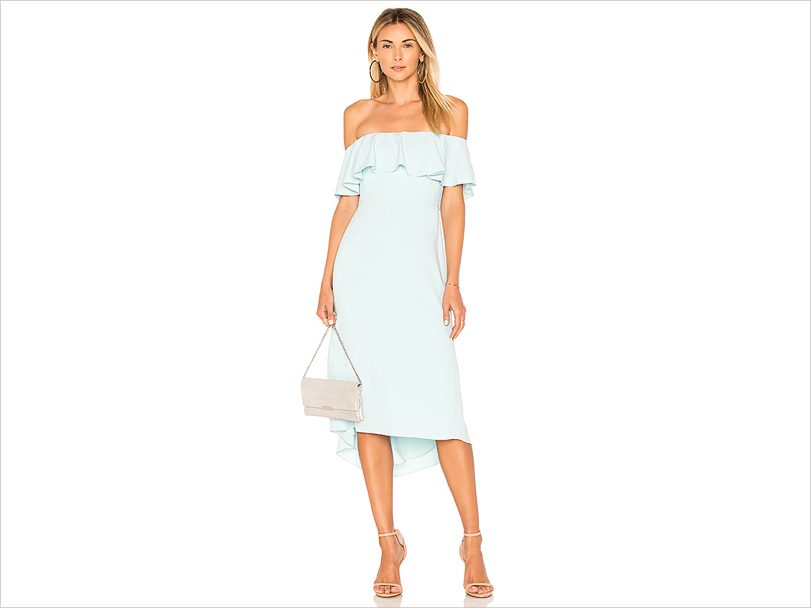 off shoulder flounce detail dress in mint green wedding guest dress ideas halston heritage