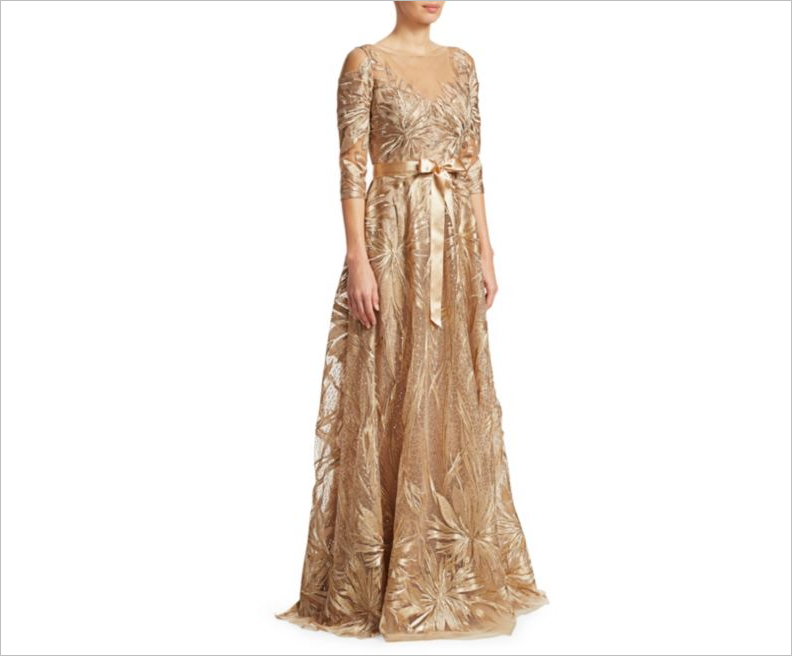 Teri Jon by Rickie Freeman gold sequin formal wedding guest dress ideas