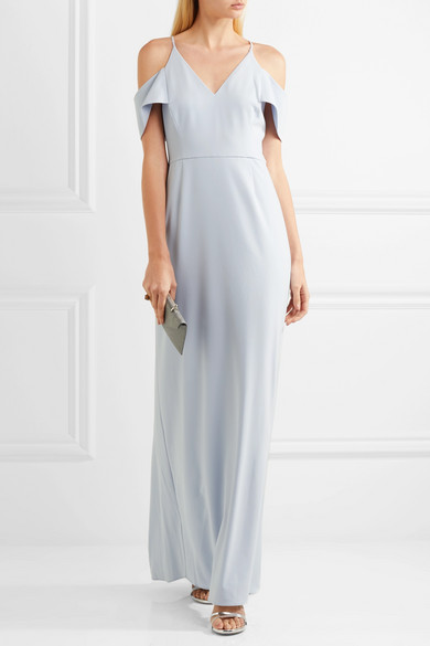 Light blue HALSTON HERITAGE cold-shoulder crepe gown wedding guest dress ideas