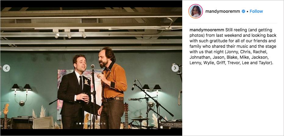 mandy moore taylor goldsmith dawes wedding performance