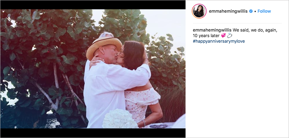 bruce willis and emma heming willis vow renewawl turks and caicos, demi moore, rumer willis, scout willis