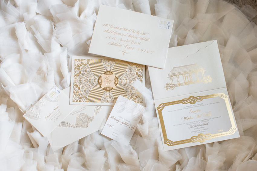 white and gold wedding invitation with pretty gold foil ceci new york