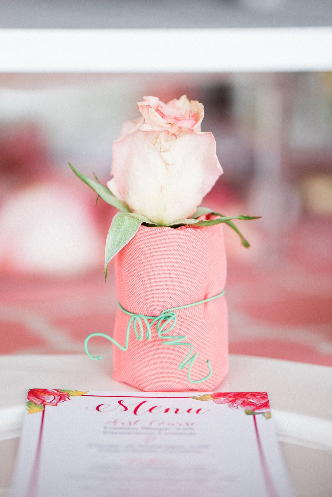 close up of place setting at pretty pink bridal shower