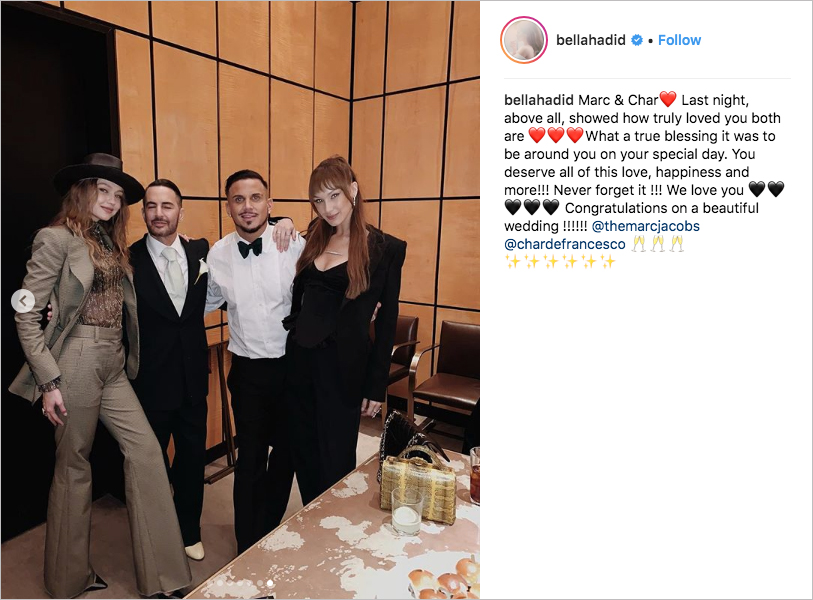 marc jacobs Char Defrancesco wedding, bella hadid and gigi hadid