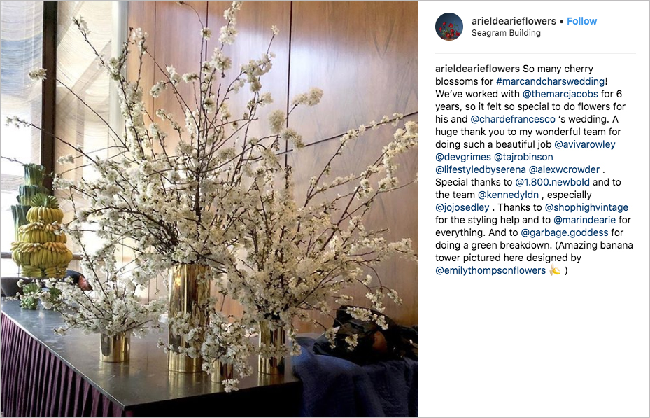 marc jacobs Char Defrancesco wedding floral design