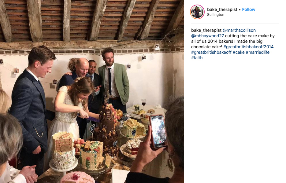 martha collison wedding great british bake off reunion wedding cakes, Nancy Birtwhistle, Claire Goodwin, Iain Watters, Chetna Makan, Kate Henry, Enwezor Nzegwu, and Richard Burr