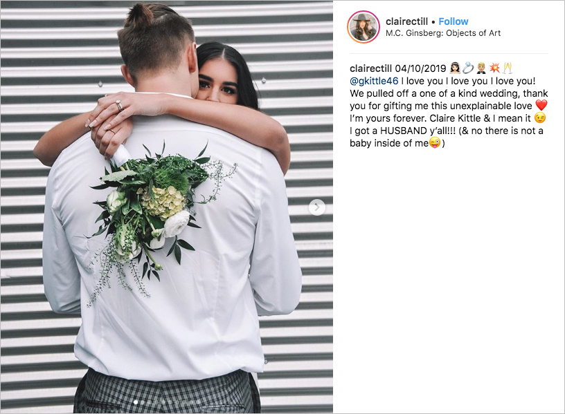49ers tight end george kittle and claire till wedding elopement bridal jumpsuit pantsuit